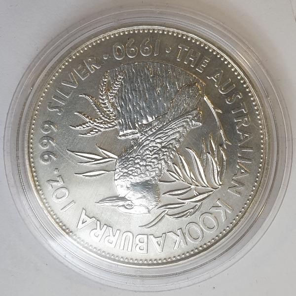 Australia - 1 OZ 1990 - 3rd Portrait - Kookaburra, Silver 999*