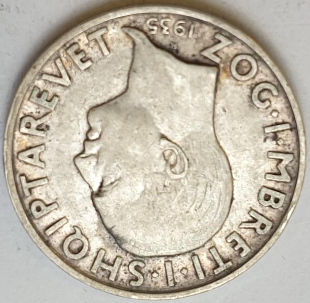 Albania - 2 Franga 1935, Silver