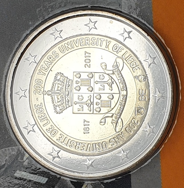 Belgium - 2 Euro 2017, 200 years University Liege, (Coin Card)