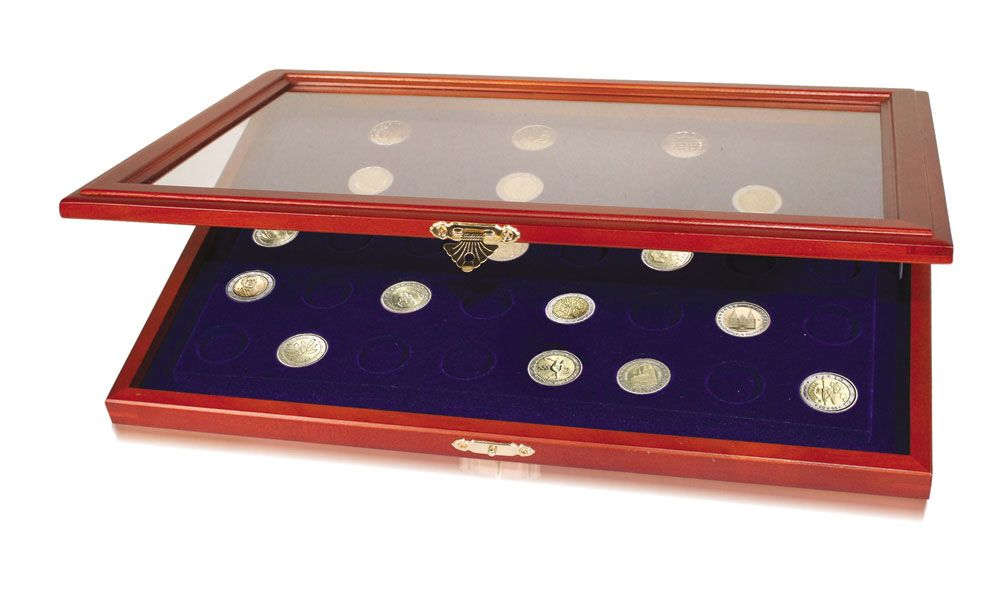 Safe - Real wood coin display case for 40 x 2 € coins