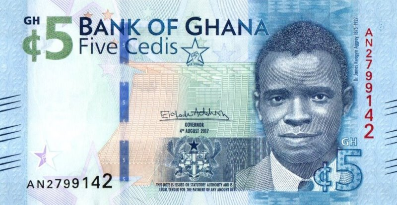Bank Of Ghana - 5 Cedis 2017, UNC
