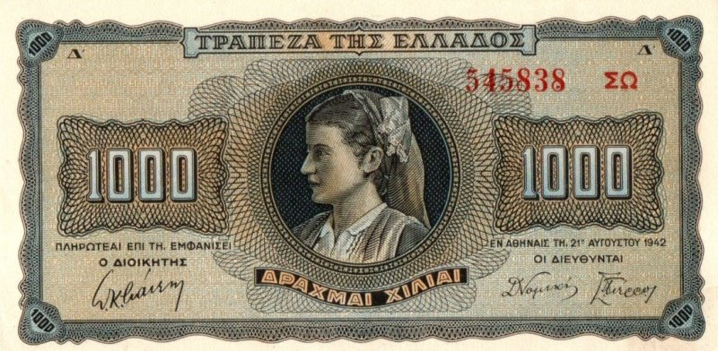 Bank Of Greece - 1000 Drachmas 1942, UNC