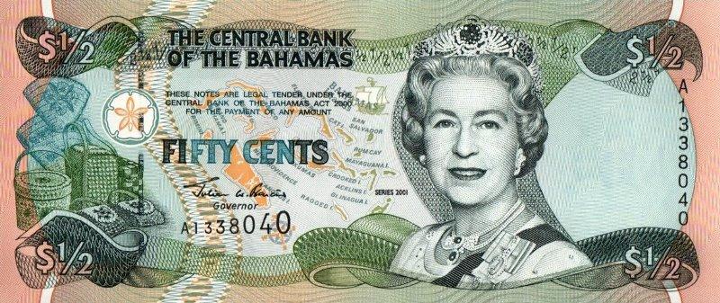 Bank Of Bahamas - 50 Cents 2001, UNC