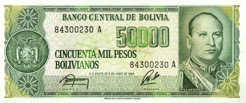 Bank Of Bolivia - 50.000 Pesos 1984, UNC