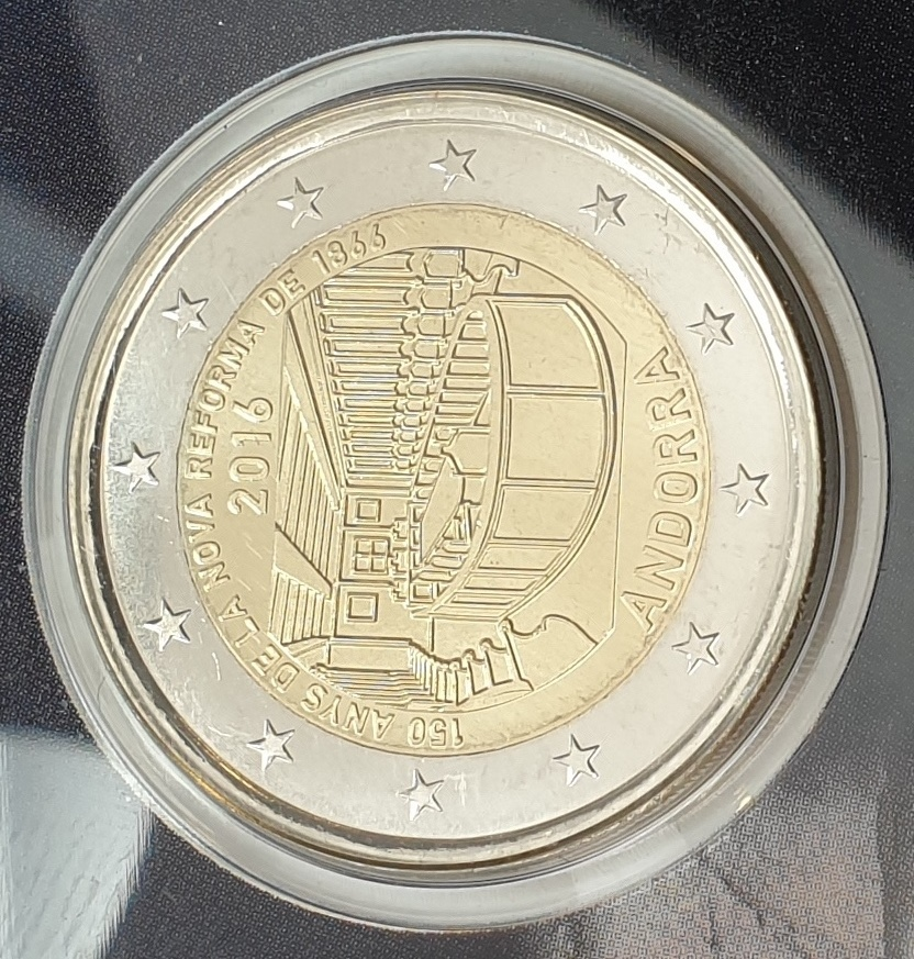 Andora - 2 Euro 2016, 150 years of the New Reform 1866, (Coin Card)