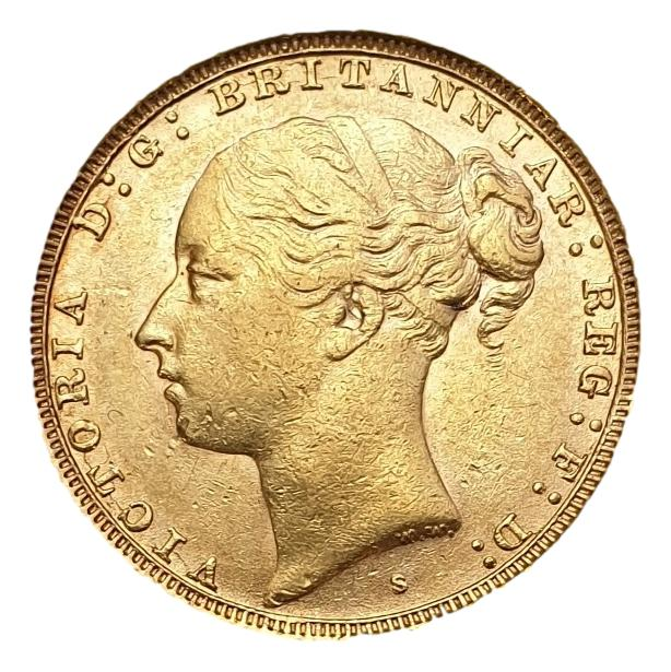 England - 1 Sovereign 1887 Sydney AU, Victoria young head