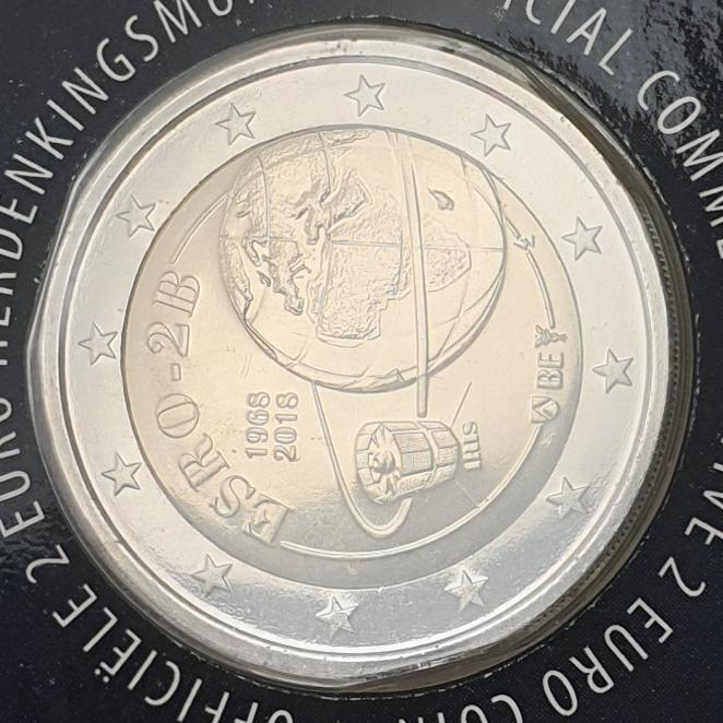 Belgium - 2 Euro 2018, 50th Anniv. of the launch of ESRO2B, (Coin Card)
