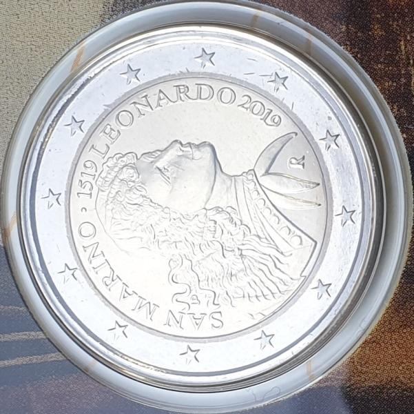 San Marino - 2 Euro 2019, Leonardo Da Vinci, (Coin Card)