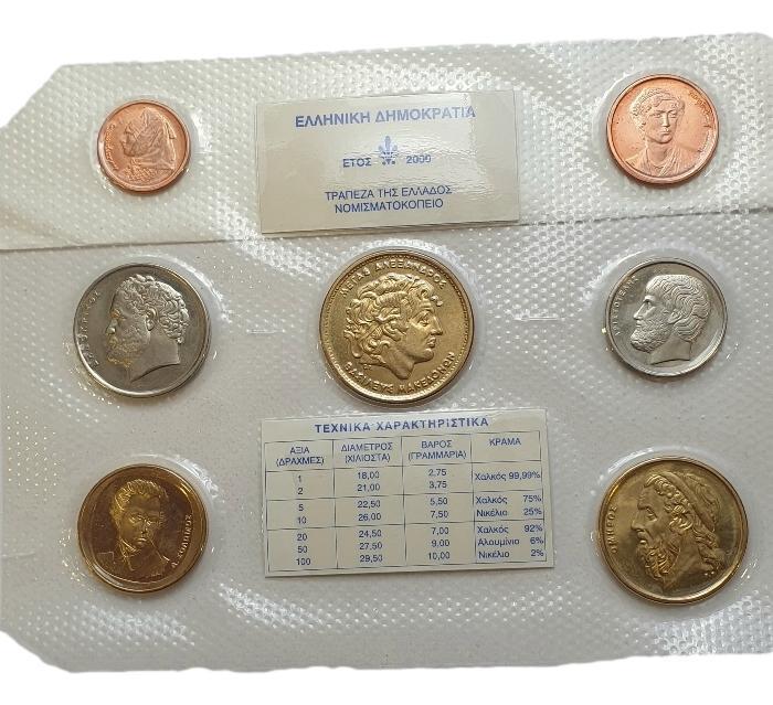 Greece - Set Drachmas - 2000, UNC
