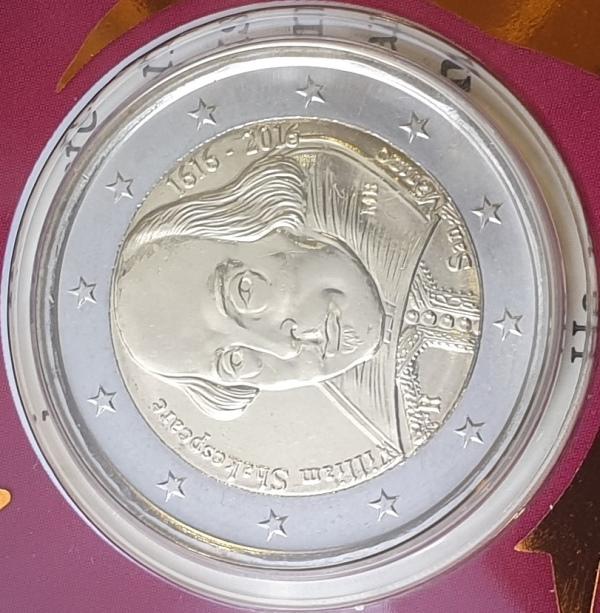 San Marino - 2 Euro 2016, William Shakespeare, (Coin Card)