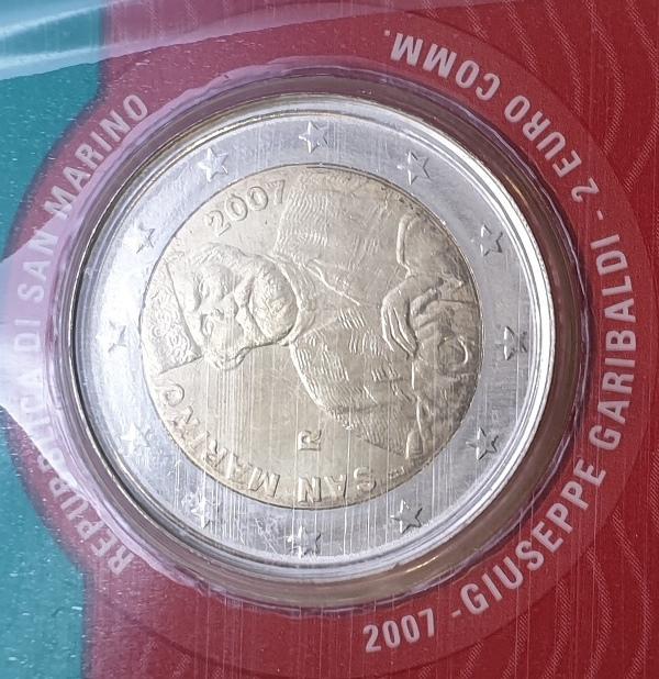 San Marino - 2 Euro 2007, Giuseppe Garibaldi, (Coin Card)