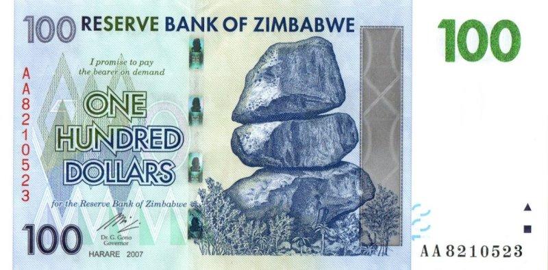 Bank Of Zimbabwe - 100 Dollars 2007, UNC