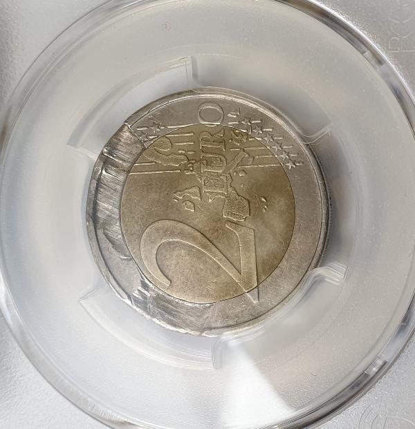 Greece - 2 Euro 2002, Struck on Defective Planchet (AU 50)