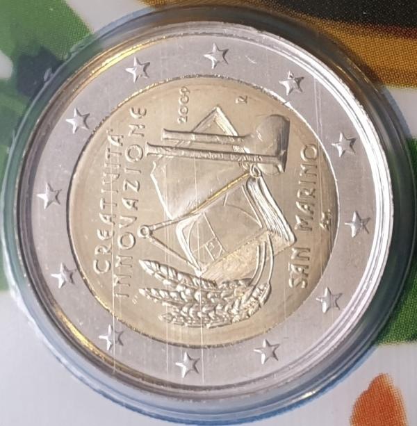 San Marino - 2 Euro 2009, Creativita E Della Innovazione, (Coin Card)