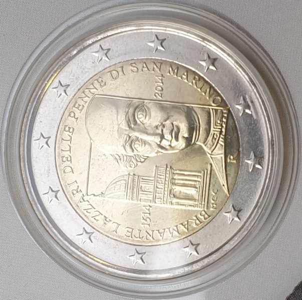 San Marino - 2 Euro 2014, Donato Bramante, (Coin Card)