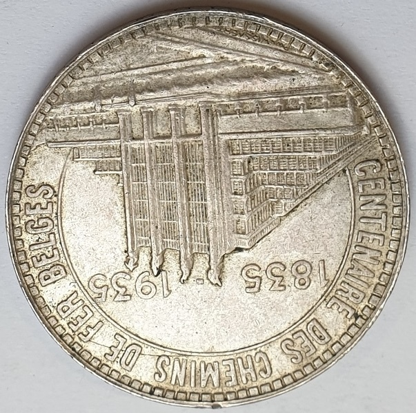 Belgium - 50 Francs 1935 AUNC, Dutch text; Brussels World's Fair, Silver