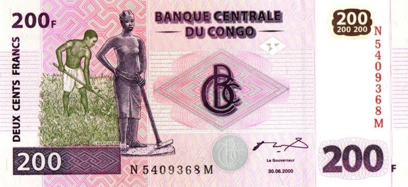 Bank Of Congo - 200 Francs 2000, UNC