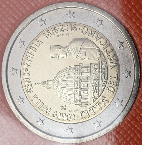 Vaticano - 2 Euro 2016, Bicentenary of the Vatican Gendarmerie, (Coin Card)