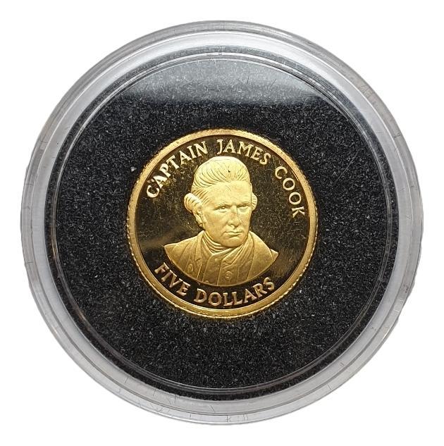 Cook Islands - 5 Dollars 2001 Proof,Capten James Cook