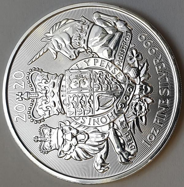 England - 1 OZ 2020 - Royal Arms, Silver 999*