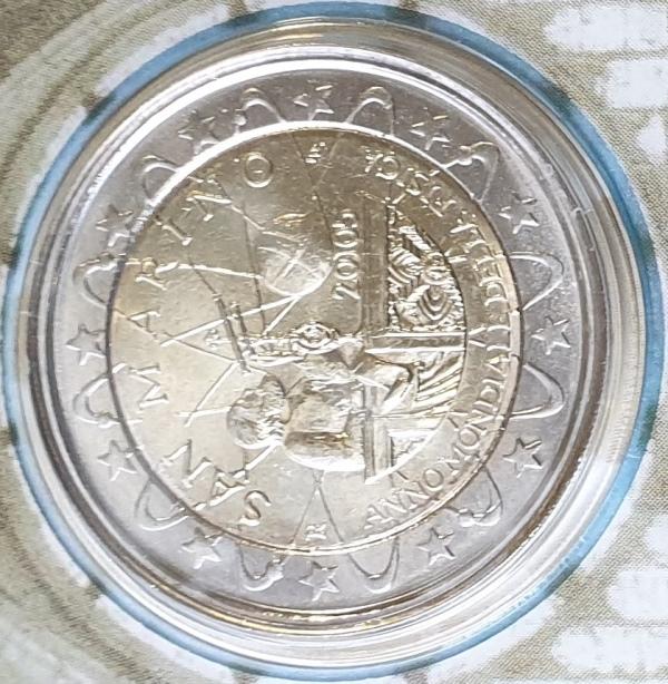 San Marino - 2 Euro 2005, Galileo Galilei, (Coin Card)