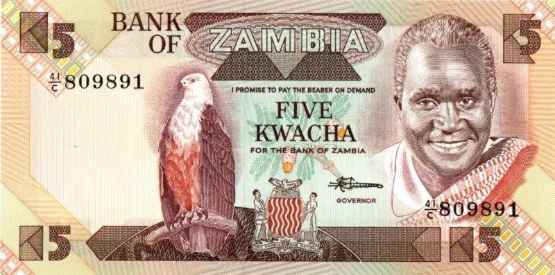 Bank Of Zambia - 5 Kwacha 1980 - 1988, UNC