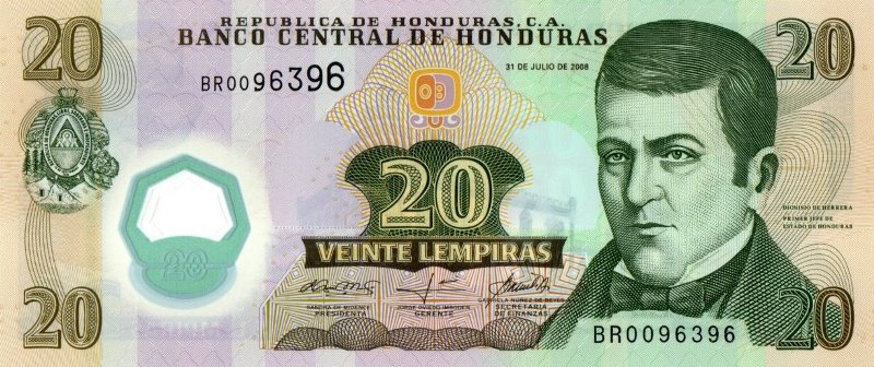 Bank Of Honduras - 20 Lempiras 2008, UNC