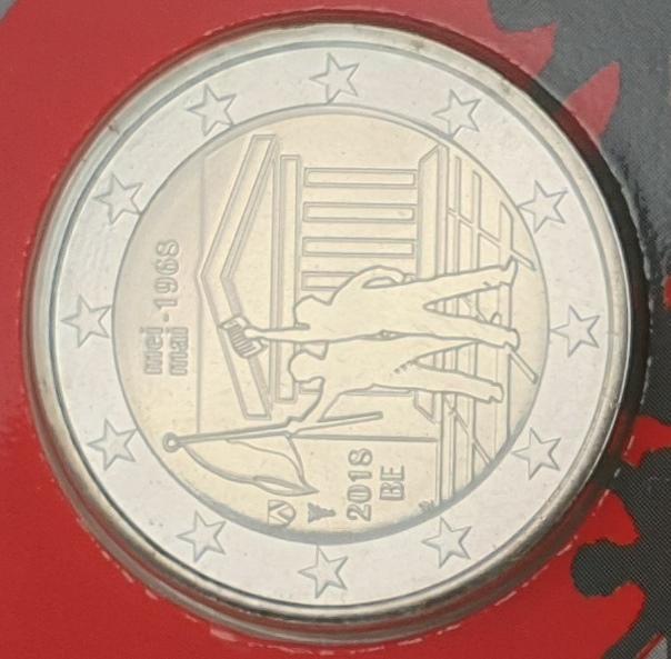 Belgium - 2 Euro 2018, 50th anniversary of May, (Coin Card)