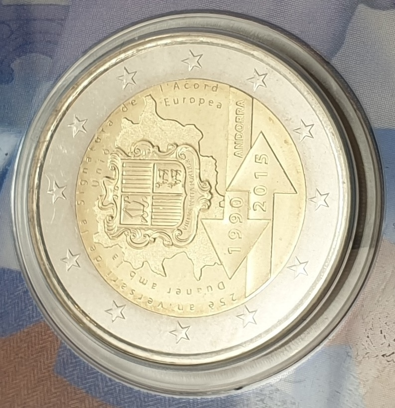 Andora - 2 Euro 2015, 25 years of Customs Union with the EU, (Coin Card)