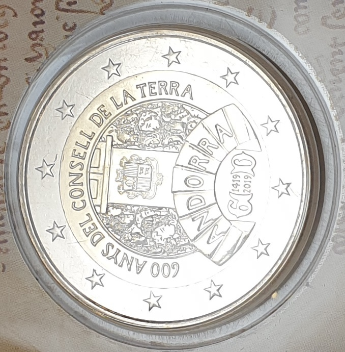 Andora - 2 Euro 2019, 600 Years Of The Earth Council (Coin Card)