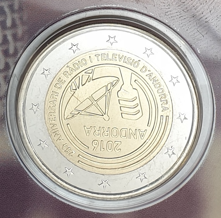 Andora - 2 Euro 2016, 25th anniversary of the radio and TV, (Coin Card)