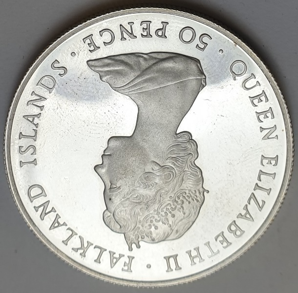 Falkland Islands - 50 Pence 1982, Liberation, Silver