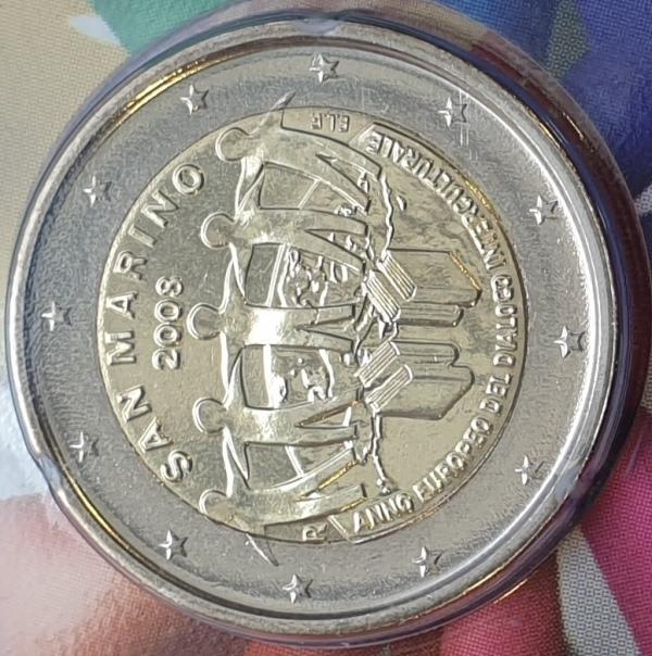 San Marino - 2 Euro 2008, Dialogo Interculturale, (Coin Card)