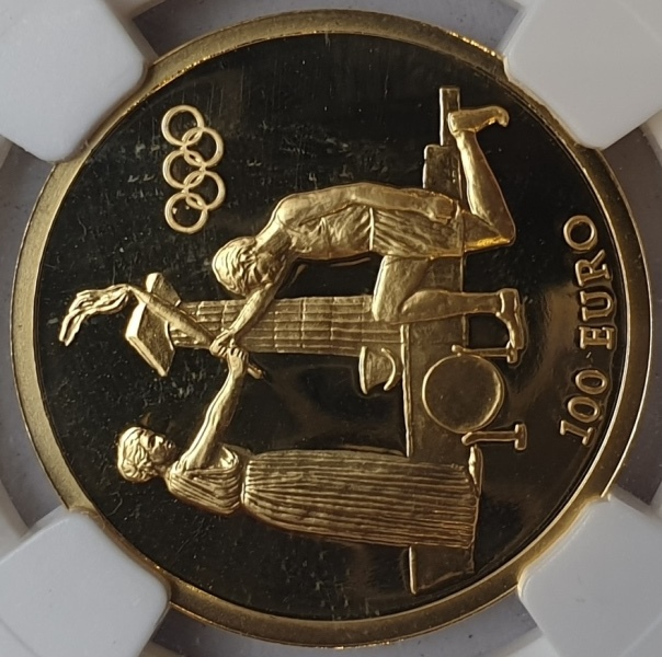 Greece - 100 Euro 2004, Start Ceremony (PF 69 ULTRA CAMEO)