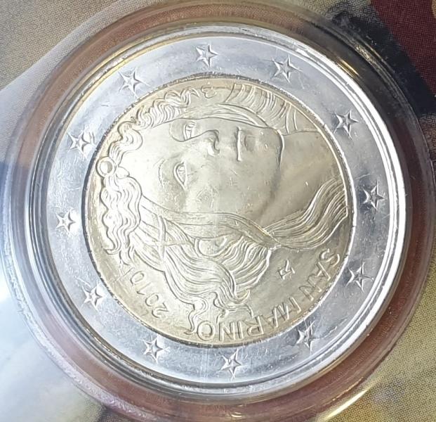 San Marino - 2 Euro 2010, Sandro Botticelli, (Coin Card)
