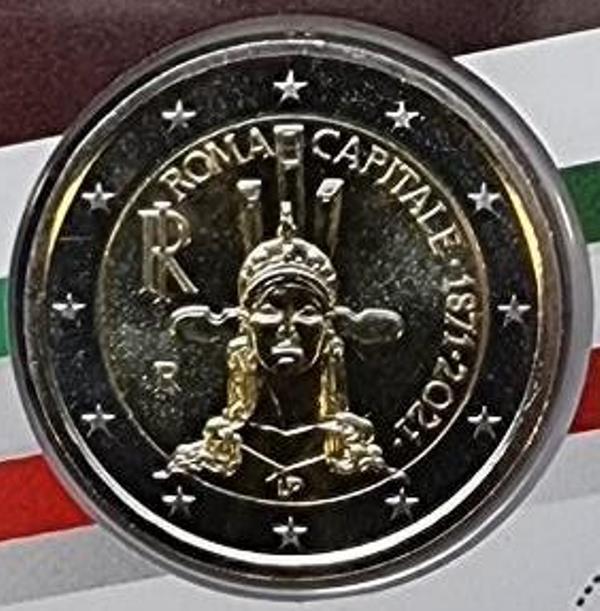 Italy - 2 Euro 2021, 150th Anniversario Dell' Istituzione Di Roma Capitale D' Italia, (Coin Card)