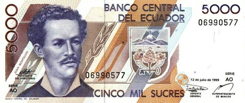 Bank Of Ecuador - 5000 Sucres 1999, UNC