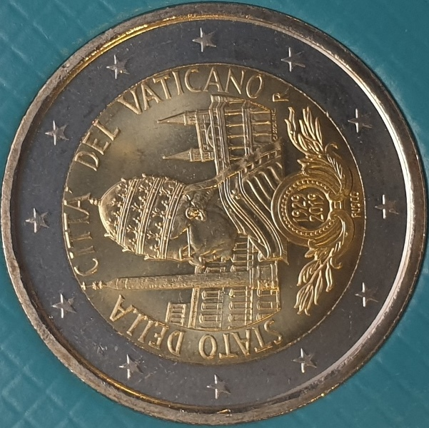 Vaticano - 2 Euro 2019, 90th Anniversary of the Institution of the Vatican City State, (Coin Card)