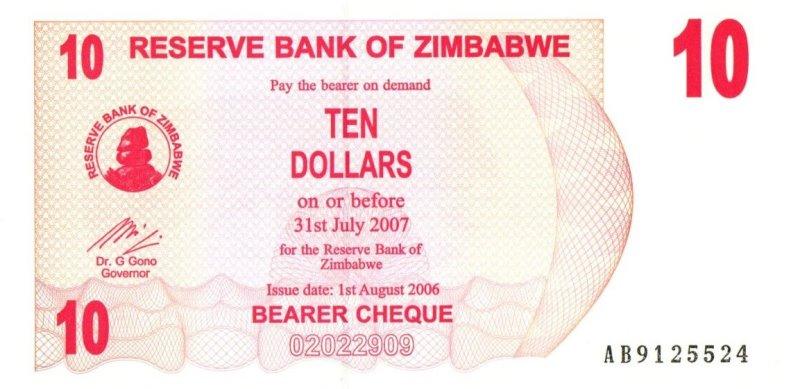 Bank Of Zimbabwe - 10 Dollars 2007, UNC