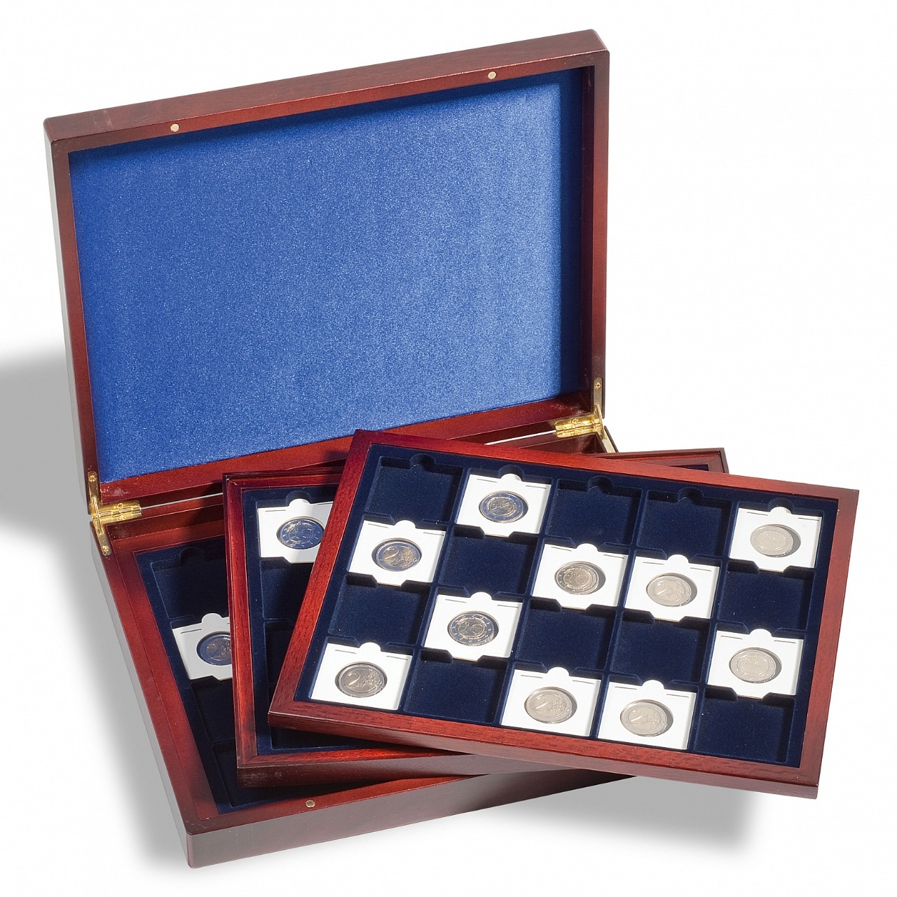 Lighthouse - Luxury Volterra Trio numismatic box for Quadrum each with 20 frames 50 X 50 mm, Blue