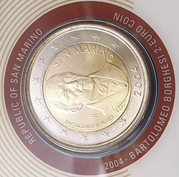 San Marino - 2 Euro 2004, Bartolomeo Borghesi, (Coin Card)