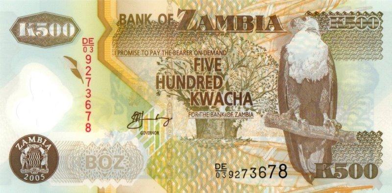 Bank Of Zambia - 500 Kwacha 2005, UNC
