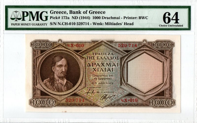 Bank Of Greece - 1000 Drachmas 1944 ( Γ΄), PMG CU 64