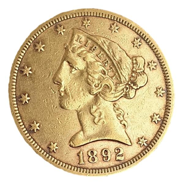 "USA - 5 Dollars 1892, ""Liberty / Coronet Head - Half Eagle"""