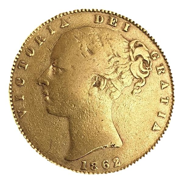 England - 1 Sovereign 1862 shield, Victoria Young Head