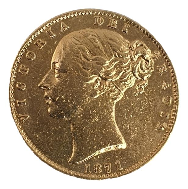 England - 1 Sovereign 1871 shield, Victoria Young Head