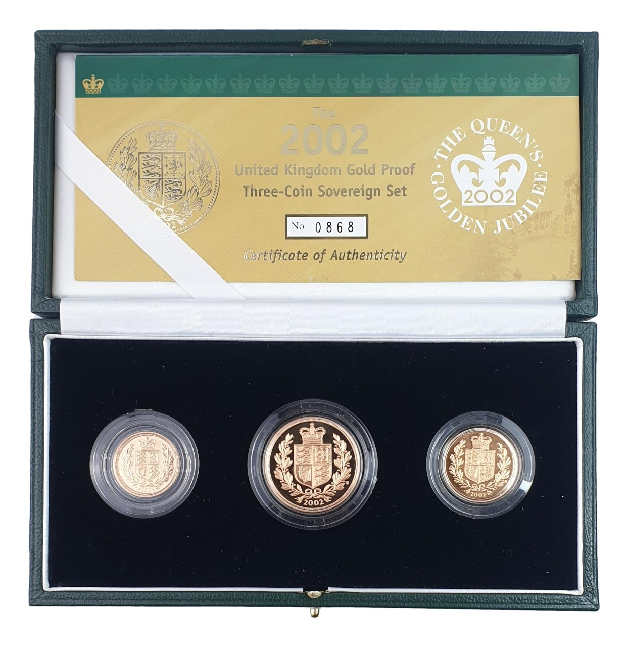 England - Three Coin Sovereign Set 2002, Gold Proof