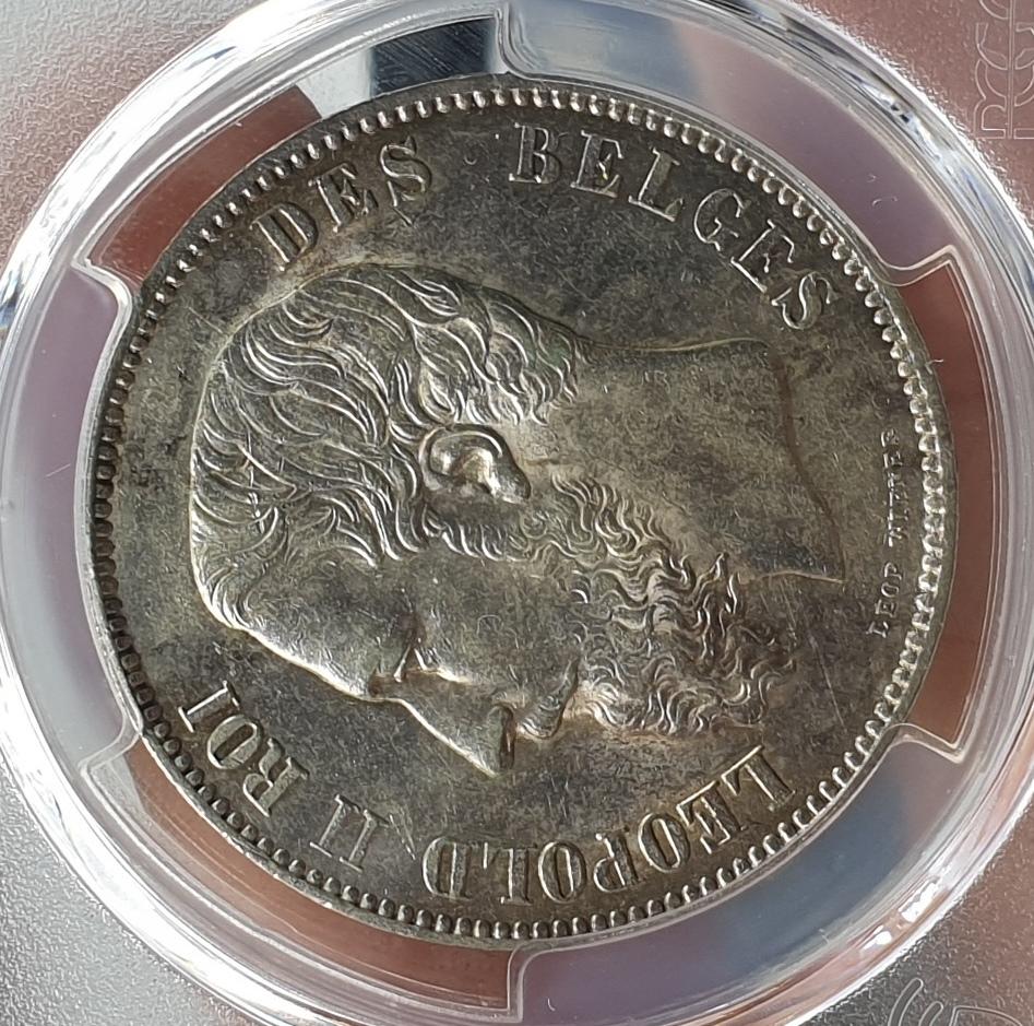 Belgium - 5 Francs 1875 (MS 62), Silver