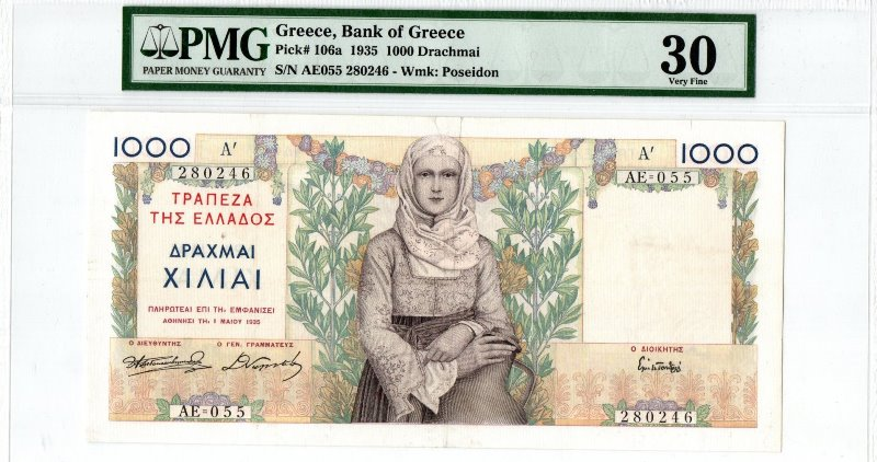 Bank Of Greece - 1000 Drachmas 1935 (Α΄), PMG VF 30