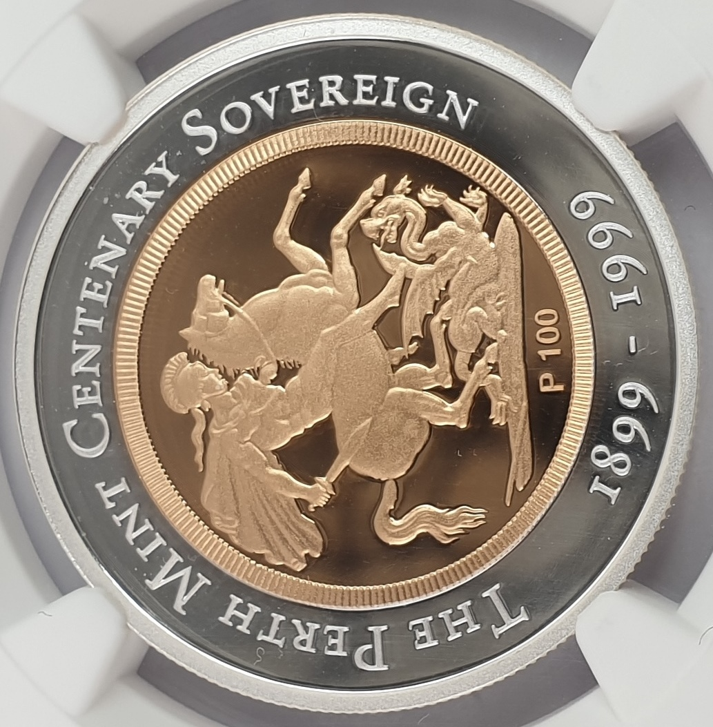 Australia - 100 Dollars 1999P (PF 69 ULTRA CAMEO), Perth Mint Centennial, Gold-Silver Sovereign